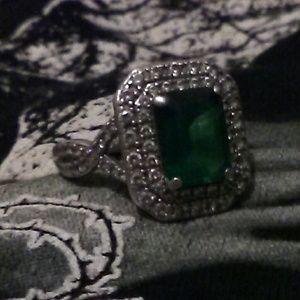 Goth EMERALD Diamond 925 STERLING SILVER RING